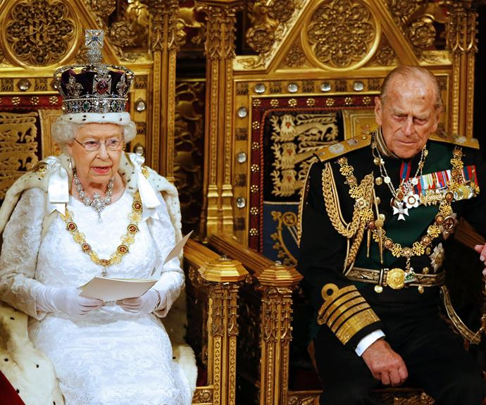 Donning close to 3000 diamonds, the Queen was a glittering vision at UK State Opening of Parliament. Dressed in white, the 90-year-old wore her Imperial State Crown.
