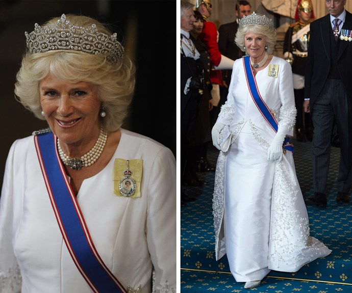 At the 2016 opening of Parliment, Duchess Camilla donned her most loved bejewelled accessory, the Greville Tiara.  It was made a well-known socilatie Mrs. Greville back in 1921, out of stones salvaged from another tiara. Having no heirs of her own, she left her considerable jewel collection to the then-Queen Elizabeth (the future Queen Mother) when she died in 1942.