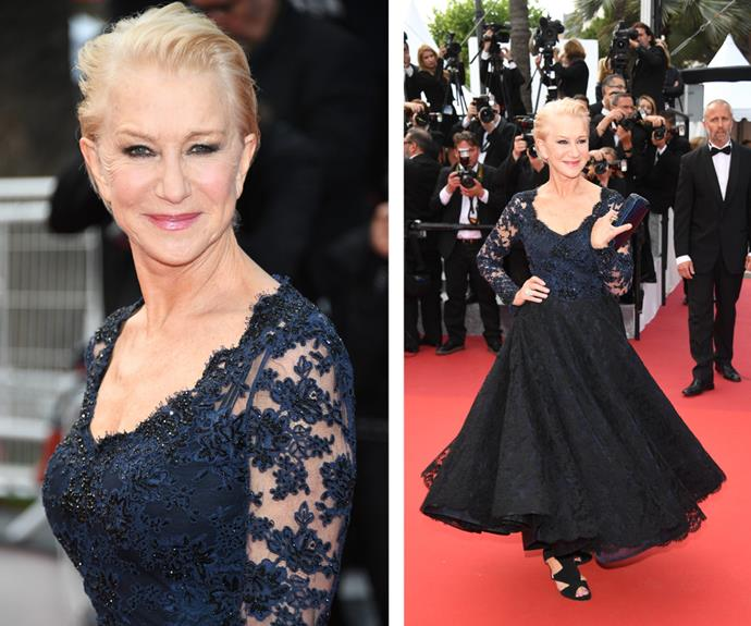 At age 70, Helen Mirren was an absolute vision as she twirled in this lace, navy frock.