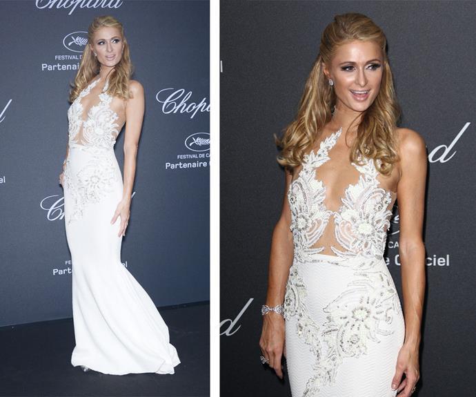 Paris Hilton was the white swan in this elegant white gown.