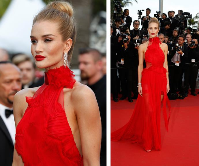 Wow! Supermodel Rosie Huntington-Whiteley made jaws drop in fire engine red.