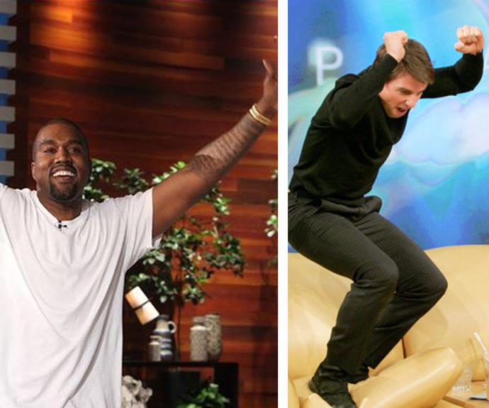 Onlookers said the scene was reminiscent of Tom Cruise's weird couch moment on Oprah.