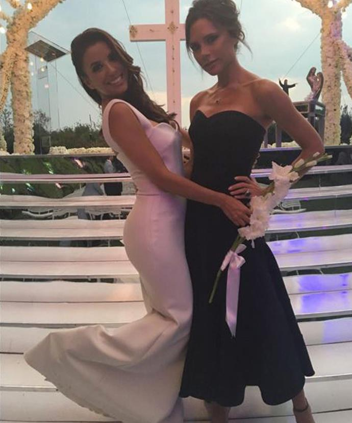 Close friend Victoria Beckham designed Eva's bespoke wedding gown!