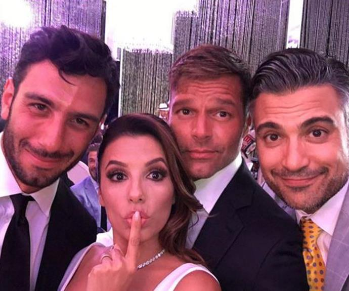 The happy couple shared their day with friends including Ricky Martin and Jaime Camil.