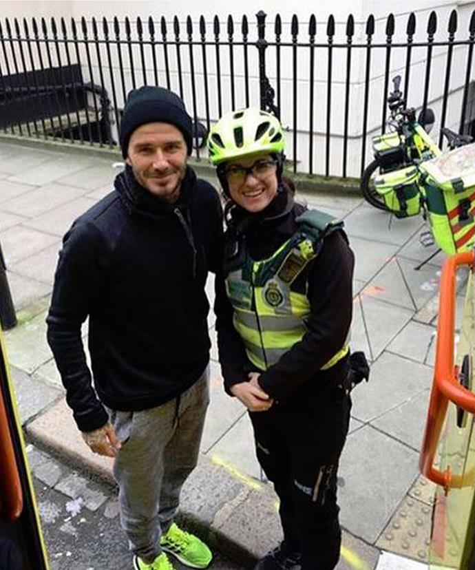 Ambulance worker Catherine Maynard was chuffed when David bought her a hot drink.
