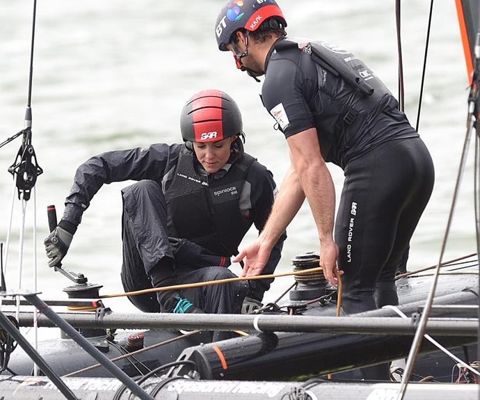Things got serious when the Duchess was asked to assist with the operation of the boat, but she handled it like a pro!