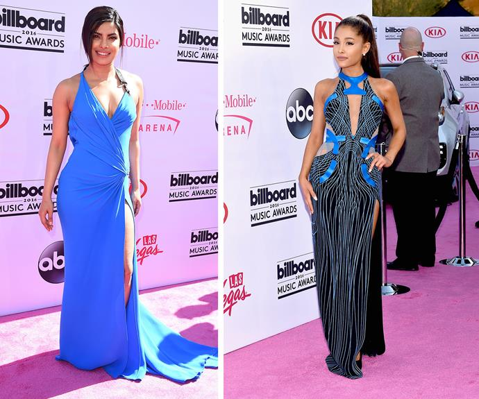 Blue was the warmest colour for Priyanka Chopra and Ariana Grande. **Watch Ariana fall on the red carpet in the next slide. Post continues...**