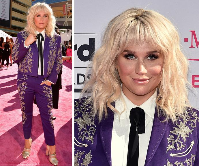 Kesha kept things cool in this purple suit and blunt new bangs.
