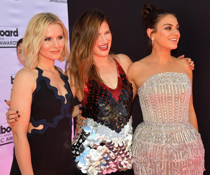 The cast of *Bad Moms* hit the red carpet. (L-R) Kristen bell, Kathryn Hahn and Mila Kunis pose up.
