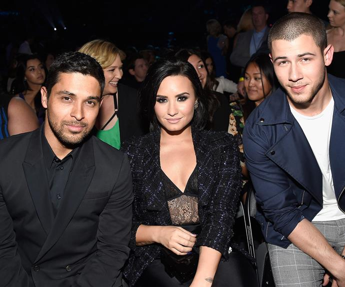 Demi with her two men, boyfriend Wilmer Valderrama and collaborator Nick Jonas