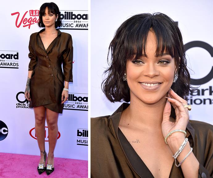 Rihanna works works works her blazer dress.