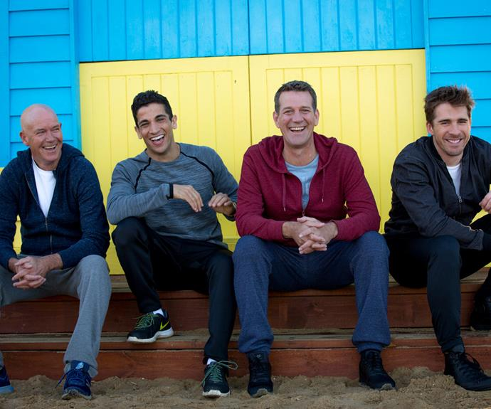 The boys are back! (L-R) Gary Sweet, Firass Dirani, Rhys Muldoon and Hugh Sheridan look right at home as they gear up for season five of the much-loved show.