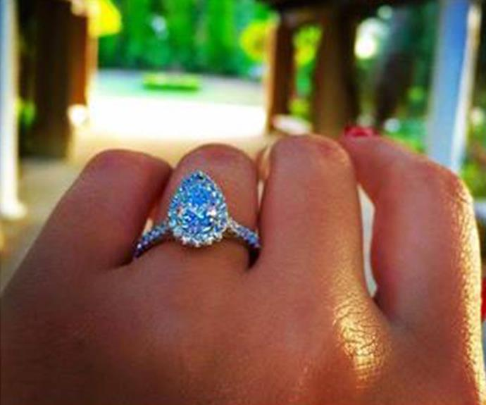 What a rock! Daniella shared this photo of her pear-cut sparkler from Sam.