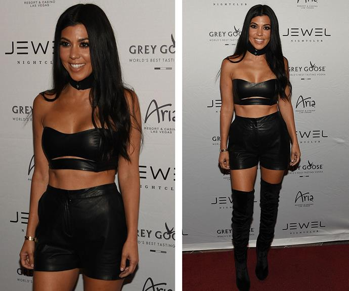 She looks good in leather! During an appearance at JEWEL Nightclub in Las Vegas all eyes were on the reality star's killer abs, which she showcased in a bandeau bra and high-waisted shorts.
