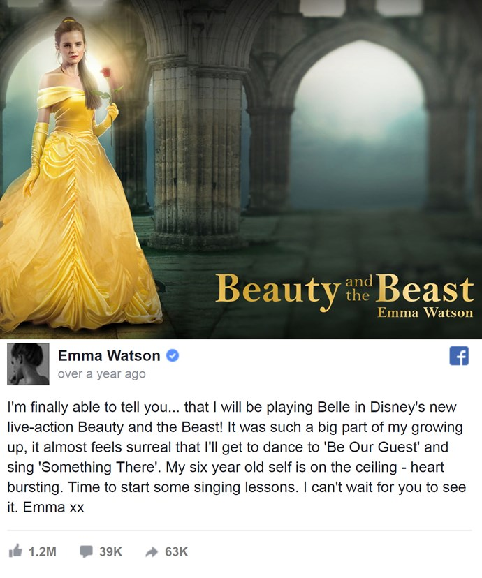 Fans created this photoshopped pic in celebration of Emma's portrayal of Belle.