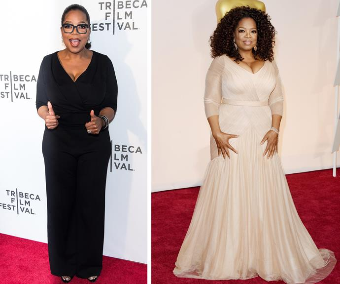 Miss Winfrey, you are looking good! (L) In April Oprah showed off her svelte frame at the *Tribeca Tune In* event, compared to last year's Oscars (R).
