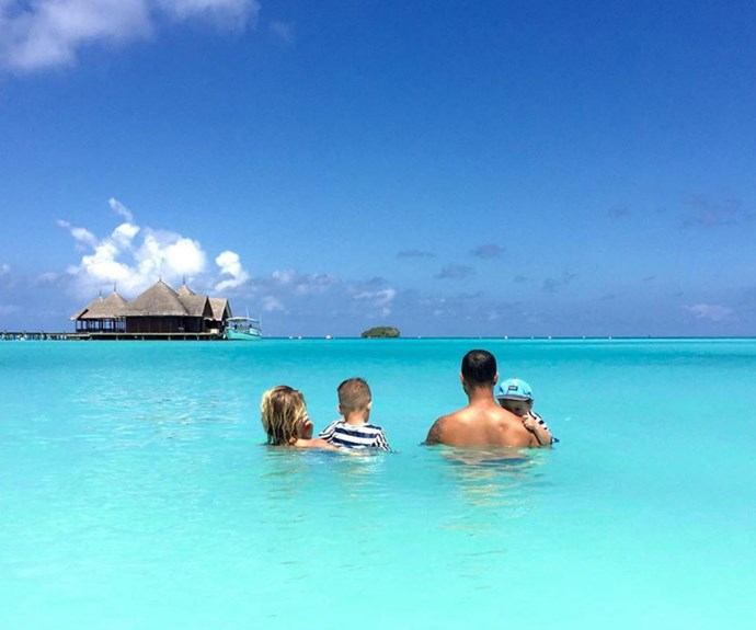 A happy snap from the family's trip to the Maldives.