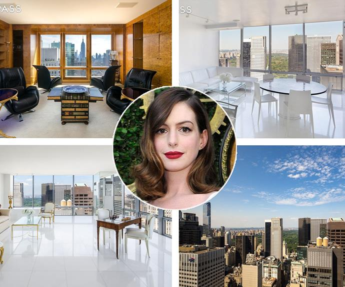 Anne Hathaway's former Fifth Avenue penthouse has just been listed for a casual $45 million. The *Love And Other Drugs* actress rented the the lush, five-bedroom pad with her then-boyfriend Raffaello Follieri, before he was sent to prison for money laundering.