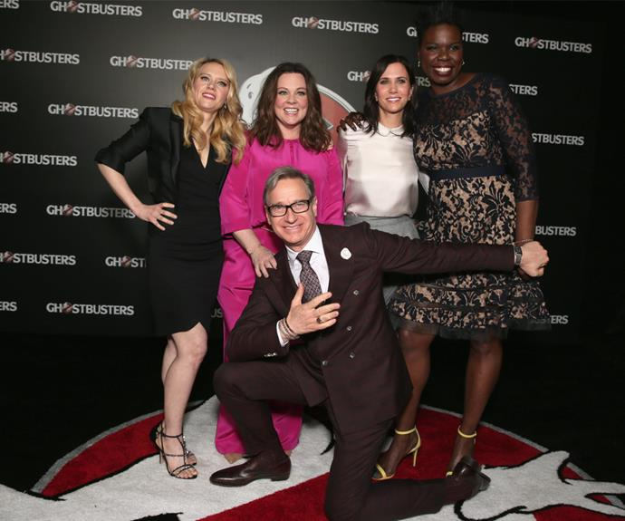 Melissa, pictured with Kate, Kristen, Leslie and director Paul Feig, thinks the vitriol comes from the cast being women.
