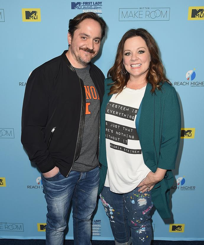 The actress, pictured here with her husband Ben Falcone, suggested maybe the critics were bitter because they didn't have anyone to come home to at night.