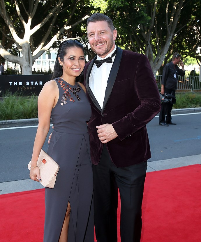The *MKR* star and his fiancee Clarissa Weerasena at the 2015 AACTA Awards.