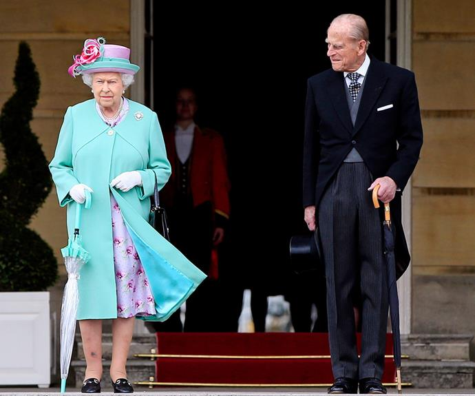 The Queen pictured with her humourous husband late last month.