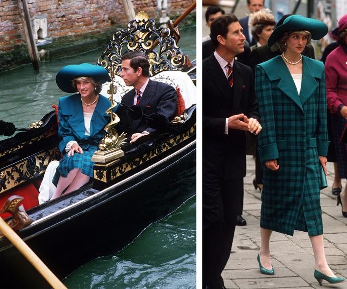 The Princess donned this coat during her 1985 Italy trip.