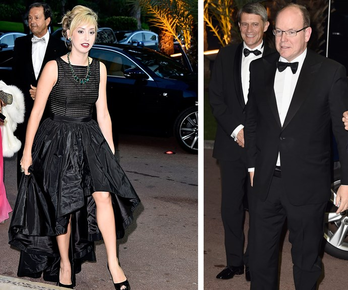 Jazmin and her father Prince Albert both cut stylish figures as they attended the gala dinner.