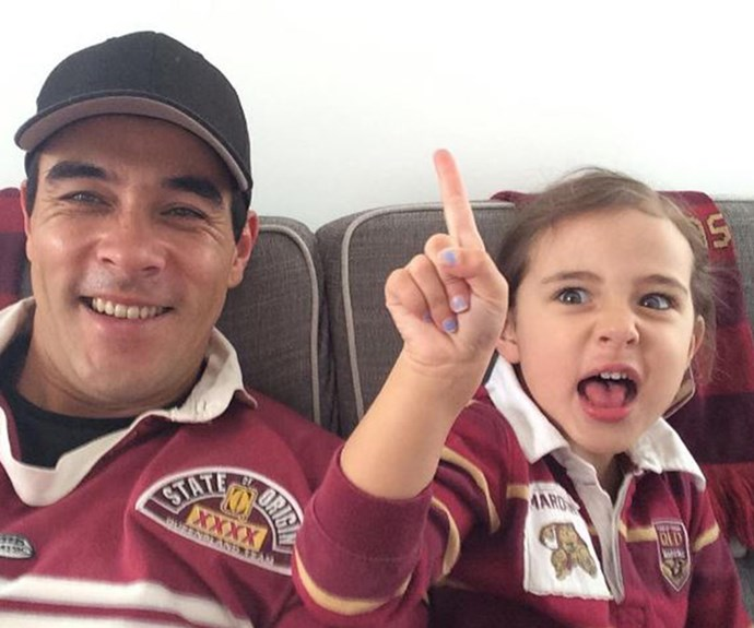 'Carn the Maroons! James Stewart and his daughter Scout get into the State of Origin with matching Queensland jerseys.