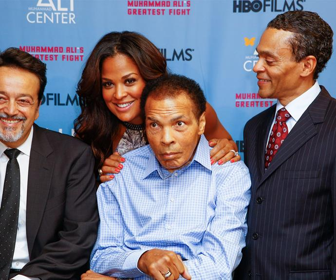 The champ, pictured here with Len Amato, Laila Ali and Donald Lassere at the premiere of his HBO movie in 2013, has been looking increasingly frail at events.
