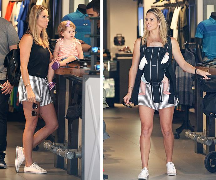 The mum-of-two showed off her enviable pins in a pair of nautical shorts.
