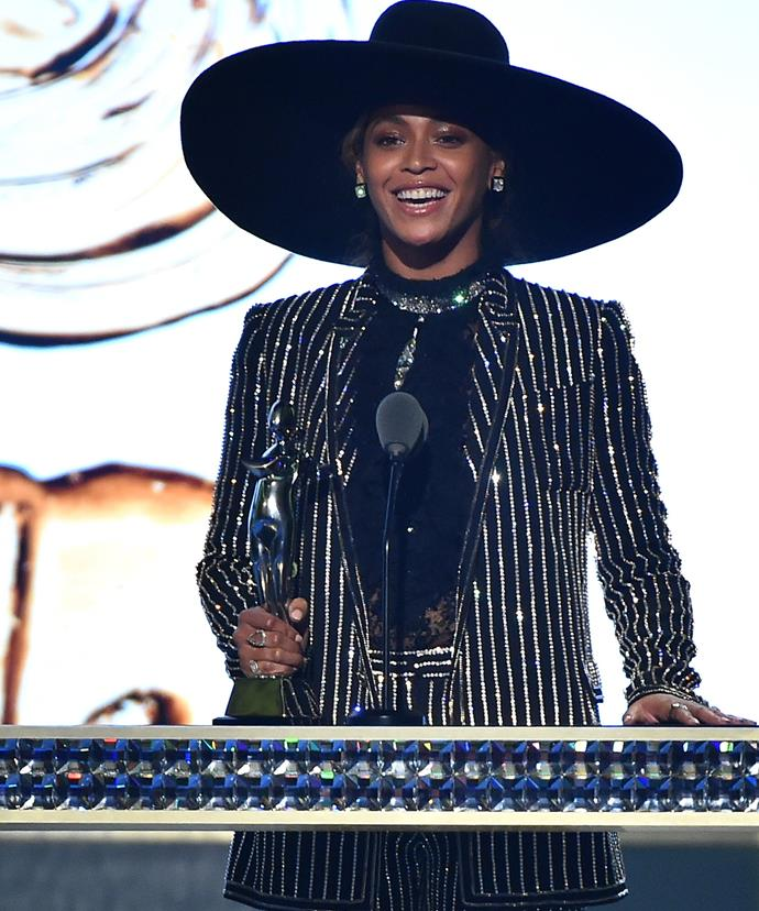 Beyonce stunned as she received her award.