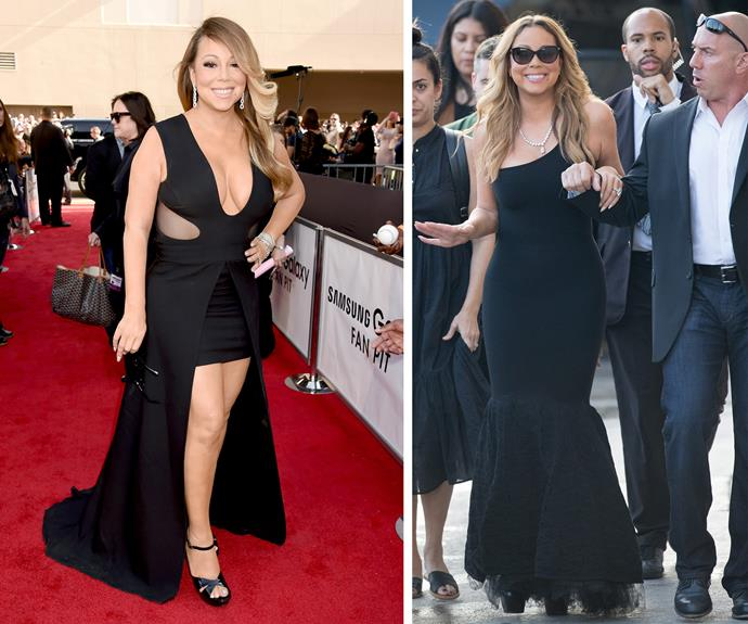 What a difference a year makes! Mariah has transformed since the 2015 Billboard Awards [L]. She was spotted [R] at Jimmy Kimmel's talk show with a slimmer frame.