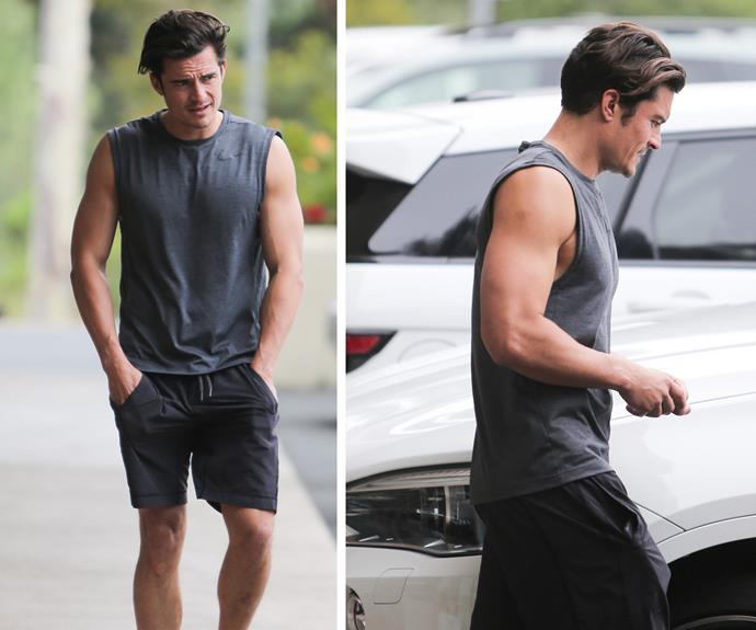 Well hello Mr Orlando Bloom! The 39-year-old actor put on a STUNNING display, showing off his incredible guns as he squeezed in a workout in Malibu.