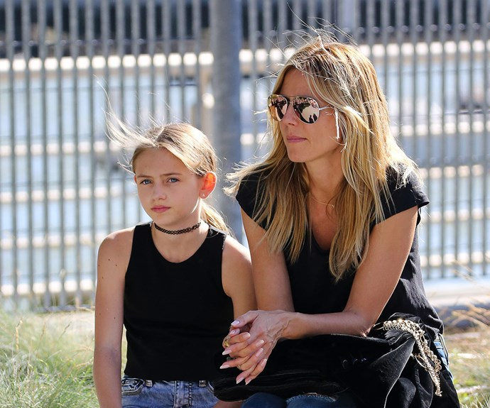 Supermodel Heidi Klum and her gorgeous 12-year-old daughter Leni, whose father is  Flavio Briatore, spent a sunny day in New York City at the Hudson River park.