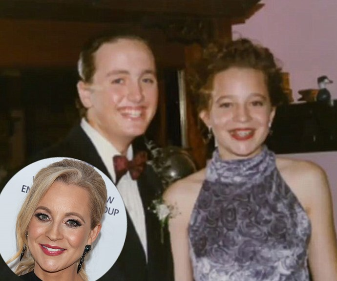 """Whilst hosting *The Project* on Thursday night, Carrie Bickmore shared this incredible throwback from her school formal. Talking about her date's reaction to her velvet frock, the blonde beauty said, """"When he rocked up he said to me, 'I think my grandma's couch is made out of that material.'"""""""