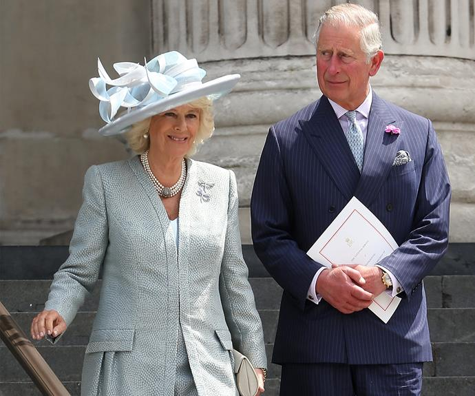 Keeping the blue on point, Duchess Camilla and the next in line to the throne, Prince Charles.