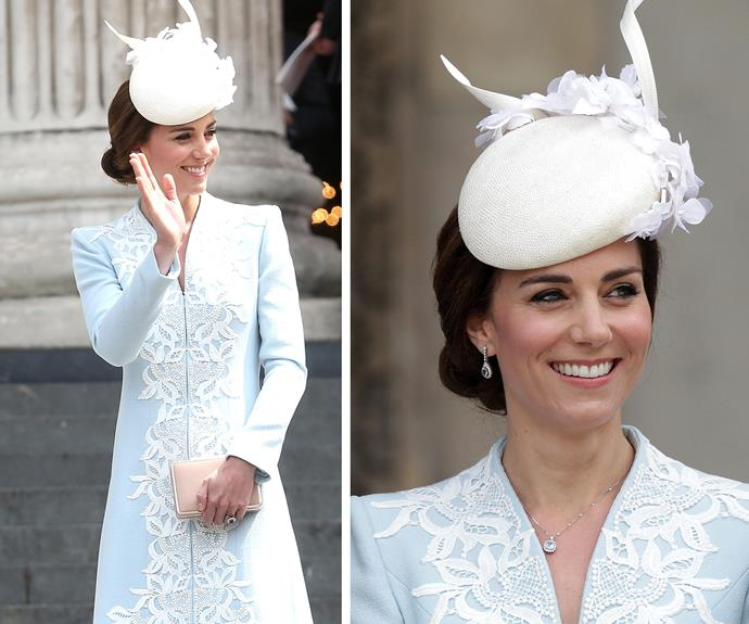 The 34-year-old looked stunning in a sky blue coat and white lace hat.