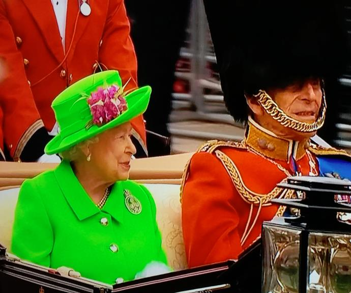 Isn't she majestic! The Queen is ringing in her 90th donning a beautiful lime green coat! And Prince Philip is dashing as ever!