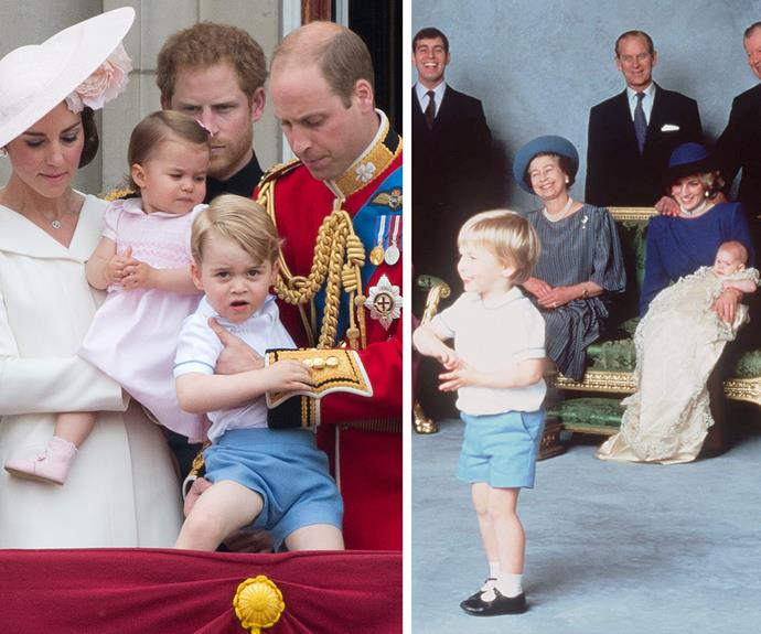 The royal family never miss a chance to pay homage to their past with Prince George dressing in William's outfit from Harry's christening back in 1984.