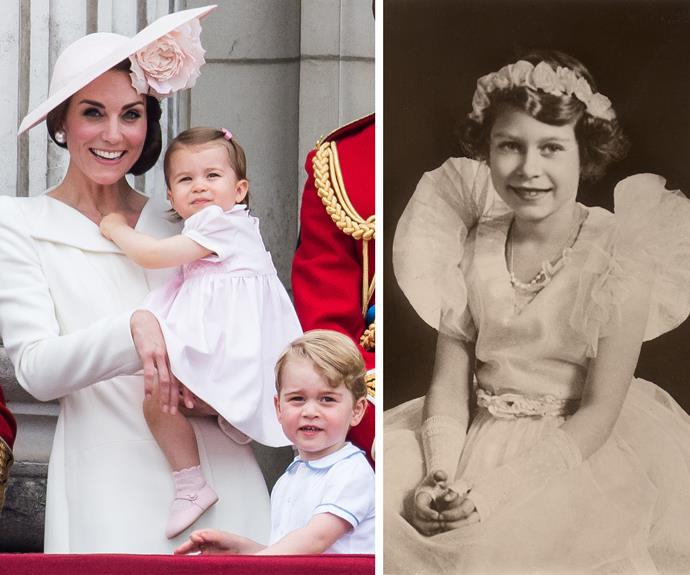 Of course, this isn't the first time Princess Charlotte were reminded of Her Royal Highness. At 13 months old, she made her very first Buckingham Palace balcony appearance in late May at Trooping the Colour. And royal well-wishers were once again reminded them of the lady of the moment, Queen Elizabeth.