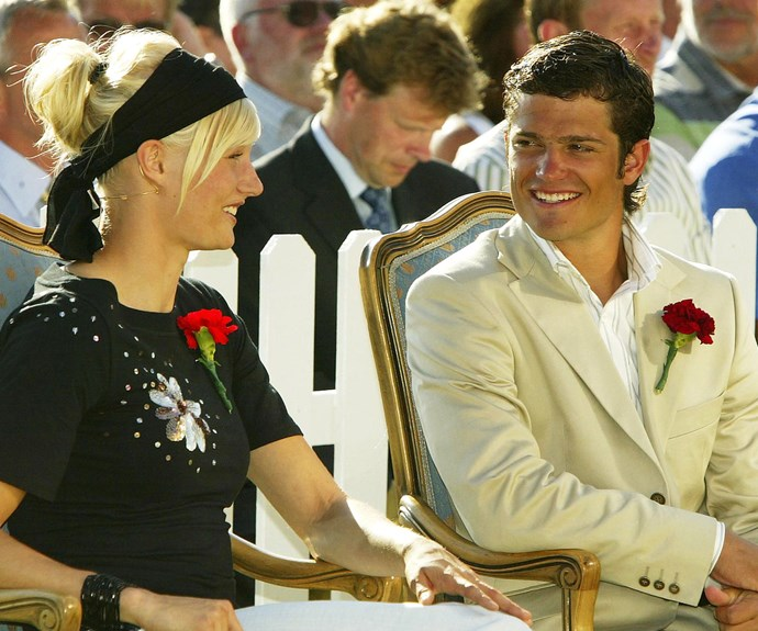 "How far they've come! Once branded the ""playboy Prince"" these days the 37-year-old, pictured back in 2003 chatting to athlete Carolina Kluft, is a family man."