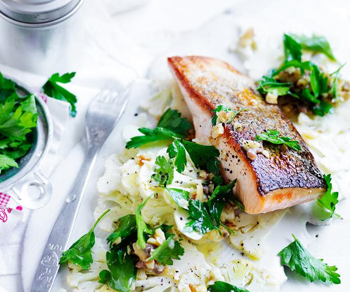 "For a healthy post-workout dinner, try this [salmon with shaved cauliflower salad!](http://www.foodtolove.com.au/recipes/salmon-with-shaved-cauliflower-salad-1854|target=""_blank"")"
