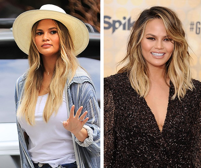 After a quick rekindling with her long extensions, Chrissy Teigen went back to her fresh pregnancy chop.