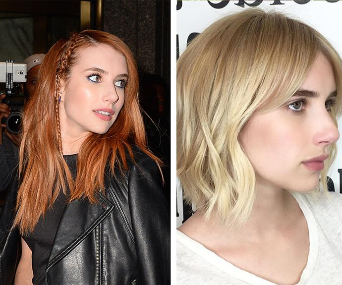 After rocking a radiant red for the past two months, Julia Roberts' niece Emma Roberts debuted a sleek, blonde bob - ditching her hair extensions as she went.