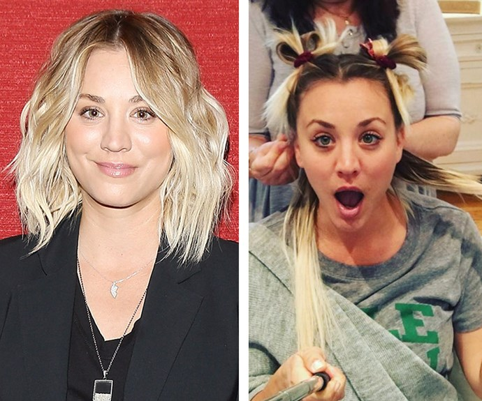 "Trading in her classic blonde lob, *Big Bang* star Kaley Cuoco showed off her extensions on Instagram. ""I love playing Penny, but it's good for me to bring it back to Kaley. Last year, I chopped it all off - this year I'm doing the opposite,"" she explained."