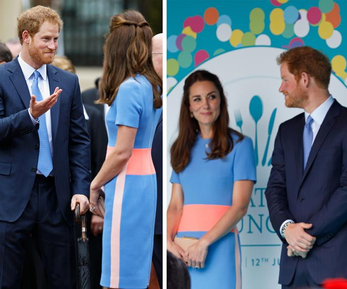 Duchess Catherine's bromance with Prince Harry was at all-time high as they celebrated Queen's Elizabeth's birthday long-weekend in 2016. The pair were on stage at The Mall for Her Majesty's birthday picnic, and it seems they couldn't help but share a private joke...
