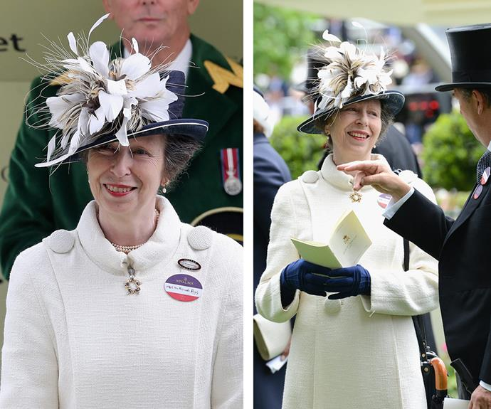 Princess Anne was a vision in snow white and navy blue gloves.