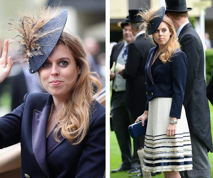 Princess Beatrice of York was stunning monochrome dream in a fitted blazer and embellished skirt.