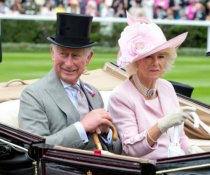 Duchess Camilla sported a pale pink ensemble topped off by a very regal pearl necklace.